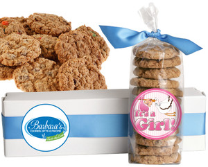 IT'S A GIRL! FRESH-BAKED CRUNCHY & HEARTY COOKIES - 4 Varieties/ All Sizes: Chocolate Chips, Nuts, M&MS or Cranberry