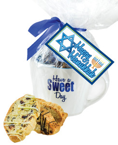 CERAMIC MUG WITH BISCOTTIS WITH HANUKKAH HANGTAG - A Great Novelty Gift !