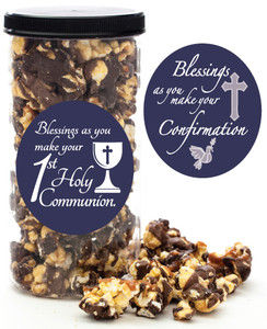 COMMUNION/ CONFIRMATION GOURMET POPCORN - Canister (Customize with any Text, Photo, Logo)