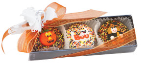 Decorated with sugar art OR labeled foils with adorable Halloween labels.