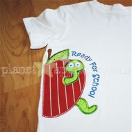 Half Apple Worm Applique