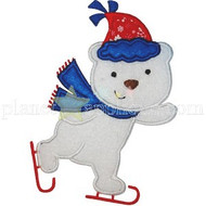 Iceskating Bear Applique