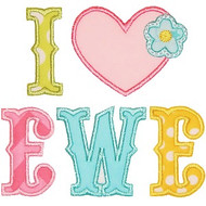 I Love Ewe Applique