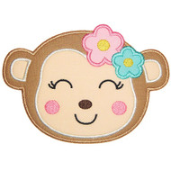 Girl Monkey Applique and Filled