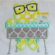School Desk Frog Applique