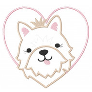 Heart Puppy Patch Applique
