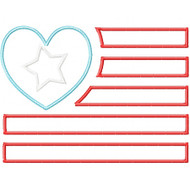 Heart and Star Flag Applique