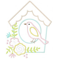 Floral Birdhouse Applique