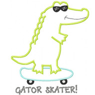Skateboard Gator Applique