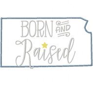 Kansas Born and Raised Satin and Zigzag Stitch Applique