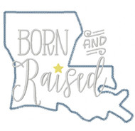 Louisiana Born and Raised Vintage and Blanket Stitch Applique