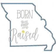 Missouri Born and Raised Satin and Zigzag Stitch Applique