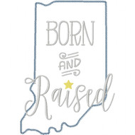 Indiana Born and Raised Vintage and Blanket Stitch Applique