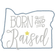 Oregon Born and Raised Vintage and Blanket Stitch Applique