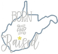 West Virginia Born and Raised Vintage and Blanket Stitch Applique