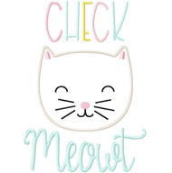 Check Meowt Satin and Zigzag Stitch Applique
