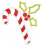 Holly Candy Cane Applique