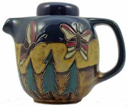 Mara Round Tea Pot 44oz - Butterfiles / Trees