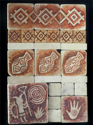 Petroglyph Stone Tile Display