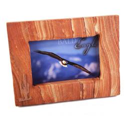 Sandstone Picture Frame w/Copper Saguaro - Landscape