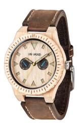 Leo Leather Beige Wood Watch