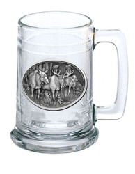 Glass Stein 15oz with Wildlife Pewter