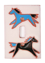 Spirit Pony Switch Plate Cover - Turquoise (Top) & Black (Bottom) Ponies