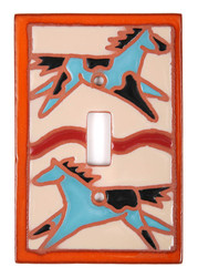 Spirit Pony Switch Plate Cover - Turquoise & Black Mixed Ponies