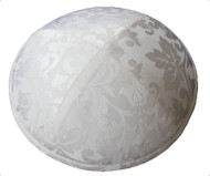 White Pattern Silk Kippah