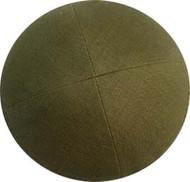 Olive Green Linen Kippah