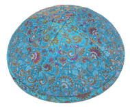 Turquoise Floral Brocade Kippah