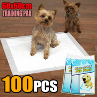 100 PCS Puppy Pet Dog Cat Training Pads 60x60cm Super Absorbent Wee Loo Toilet Kit