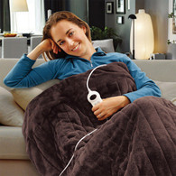 Electric Heated Throw Rug Snuggle Blanket 9 Smart Heat Settings + Timer Control (Chocolate Brown)