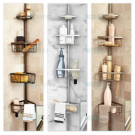 Luxury Telescopic Metal Spring Tension Pole 4 Shelf Corner Bathtub Shower Caddy(Steel Silver)