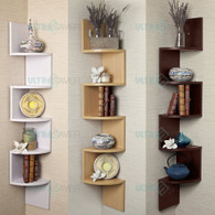 5 Tier Large Corner Wall Mount Shelf Zig Zag DVD CD Storage Home Display Decor-BROWN