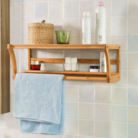 Bamboo Towel Rack Wall Mounted Bathroom  Unit Rail Holder Top Home Solution AUS