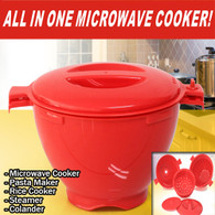 All in One Microwave Cooker Pasta Maker Rice Cooker Steamer Colander