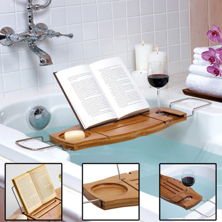 Bathroom Bamboo Bath Caddy Stainless Steel with Extendable Arms Fit ...