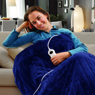 Electric Heated Throw Rug Snuggle Blanket 9 Smart Heat Settings + Timer Control (Navy Blue)