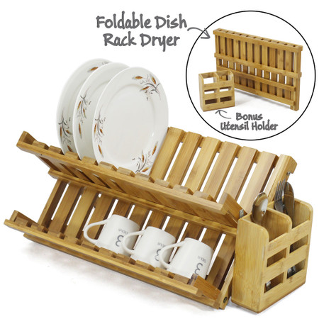 Image 1  sc 1 st  UltraSaver & Foldable Bamboo Dish Drying Rack Plate Cup Drainer Tray + Utensil ...