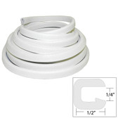 "TACO Flexible Vinyl Trim - "" Opening x 1/2""W x 25'L - White"