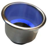 Whitecap Flush Mount Cup Holder w/Blue LED Light - Stainless Steel