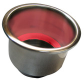 Whitecap Flush Mount Cup Holder w/Red LED Light - Stainless Steel