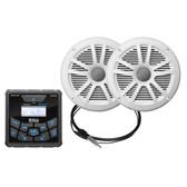 "Boss Audio MCKGB450W.6 Marine Package - Bluetooth(Audio Streaming) In-Dash Marine Gauge Digital Media AM\/FM Receiver w\/6.5"" Speakers - White"