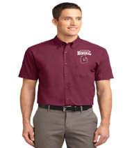 Memorial men's short sleeve button-up w/ embroidery