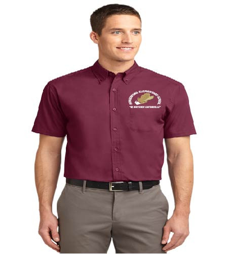 Hungerford men's short sleeve button-up shirt w/ embroidery