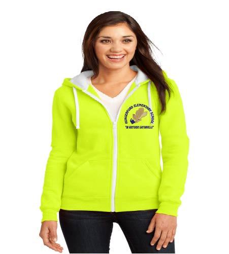 Hungerford ladies zip-up hooded sweatshirt w/ embroidery