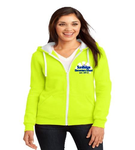 Sunridge Elementary ladies zip-up hooded sweatshirt w/ embroidery