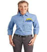 Sunridge elementary ladies 3/4 sleeve button-up shirt w/ embroidery