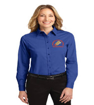 Hungerford ladies long sleeve button-up shirt w/ embroidery